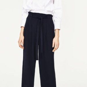 Black ZARA Paper Bag Waist Polyester Culotte Pants